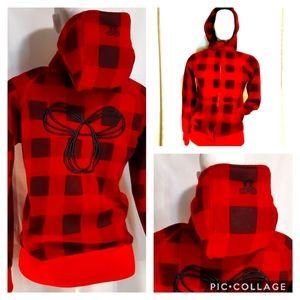 TNA   red & black buffalo plaid back logo hoodie